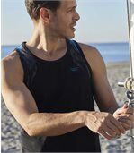 Pack of 3 Men's Beach Sports Vests - Black White Blue