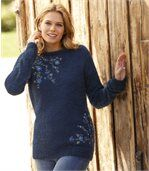 Women's Blue Embroidered Fluffy Knit Jumper preview3