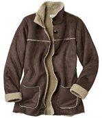 Women's Brown Faux Suede Long Coat preview2
