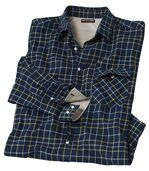 Men's Navy Flannel Shirt - Checked preview2