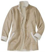 Women's Beige Faux Suede Coat with Sherpa Lining preview3