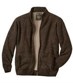 Men's Brown Arapaho Knitted Jacket with Fleece Lining