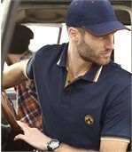 Pack of 2 Men's Piqué Polo Shirts - Navy Grey preview3