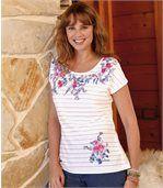 Gestreept T-shirt met bloemenkraag preview1