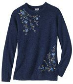 Women's Blue Embroidered Fluffy Knit Jumper