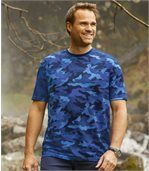 Pack of 2 Men's Camouflage T-Shirts - Blue Grey