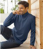 Pack of 2 Men's Roll-Neck Tops - Blue Tan preview2