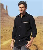 Men's Black Shirt with Navajo Patterned Trim - Cotton preview1