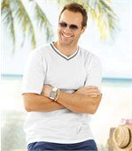 Pack of 3 Men's Classic V-Neck T-Shirts - White Blue  preview2