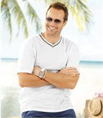 Pack of 3 Men's Classic V-Neck T-Shirts - White Turquoise Blue