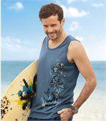 Pack of 2 Men's Surf Vest Tops - Navy Blue