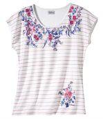 Gestreept T-shirt met bloemenkraag preview2