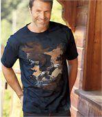 Bedrucktes T-Shirt im Tie-and-Dye-Look