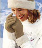 Flaušové rukavice s umelou kožušinou preview2
