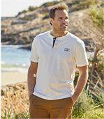 Pack of 3 Men's Button-Neck T-Shirts - Yellow Navy Ecru