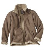 Men's Brown Faux Suede And Sherpa Jacket preview3