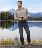 Men's Washed Dark Blue Jeans - Denim preview2