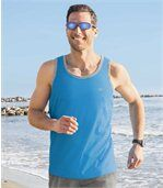 Pack of 3 Men's Sports Vests - White Grey Blue preview2