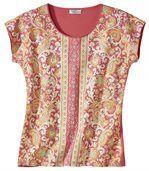 T-Shirt mit Aufdruck im Kaschmir-Look preview2
