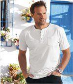 3er-Pack T-Shirts mit Henley-Kragen und Brusttasch preview2
