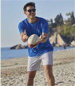 Pack of 2 Men's Microfibre Beach Shorts - Blue Grey