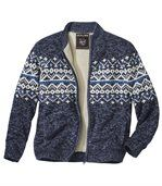 Men's Blue Knitted Jacket with Sherpa Lining