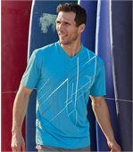 Pack of 3 Men's Sports T-Shirts - Grey Turquoise White