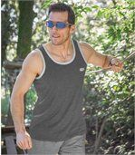 Pack of 3 Men's Sports Vests - White Grey Blue preview3