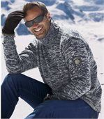 Melierter Strick-Pullover Winter mit Rollkragen preview1