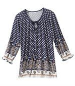 Women's Long Patterned Blouse - Blue White preview2