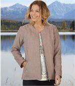 Women's Powder Pink Zip Up Jacket - Faux Suede preview1
