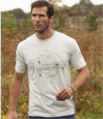 Men's Cream Printed T-Shirt