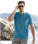 Pack of 3 Men's Button-Neck T-Shirts Blue Grey White