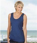 Pack of 2 Women's Vest Tops with Lacey Straps - Blue Coral  preview2