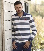 Men's Striped Piqué Polo Shirt - White Navy