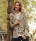 Women's Beige Summer Jacket in Linen and Viscose