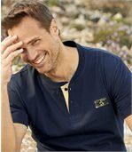 Pack of 3 Men's Button-Neck T-Shirts - Yellow Navy Ecru preview4