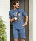 Men's Blue Eagle Pyjama Short Set