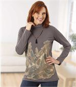 Women's Grey Funnel Jumper - Feather Motif preview1