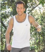 Pack of 3 Men's Sports Vests - White Grey Blue