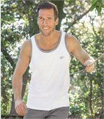Pack of 3 Men's Sports Vests - White Grey Blue preview4