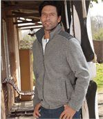 Men's Grey Zip-Up Jacket - Fleece
