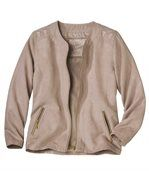 Women's Powder Pink Zip Up Jacket - Faux Suede