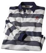 Men's Striped Piqué Polo Shirt - White Navy preview2