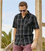 Men's Black Checked Stretch Shirt preview1