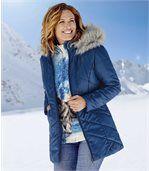 Women's Blue Coat with Faux Fur Hood