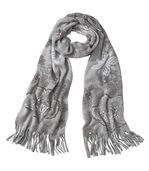 Grey Fleece Scarf - Floral Motif preview1