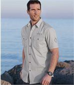 Men's Grey Aviator Style Shirt preview1