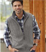 Gebreide, mouwloze vest met fleece preview1