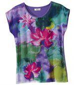 Květované triko z kombinovaného materiálu